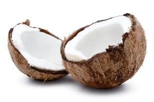 Fresh coconut on white isolated background